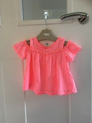 Girls River Island Bright Pink Top 9-12 Months Excellent Condition
