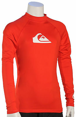 Quiksilver Boy's All Time LS Rash Guard - Quik Red - New