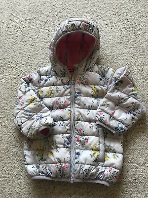 Girls Next Grey Floral Slightly Padded Hooded Coat / Jacket Age 18-24 Months VGC