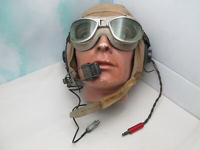 Vintage WWII US AN6530 Pilot Goggles W/ Medium Slote & Klein Flight Helmet
