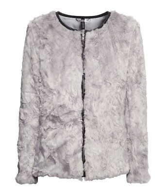 H&M Divided Grey Faux Fur Zip Jacket/Coat with Faux Leather Piping Size 10