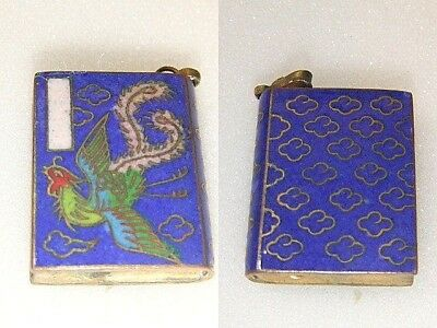 Antique Vintage Chinese Closonne Pendant Chinese Bird Symbol Book Form Pendant
