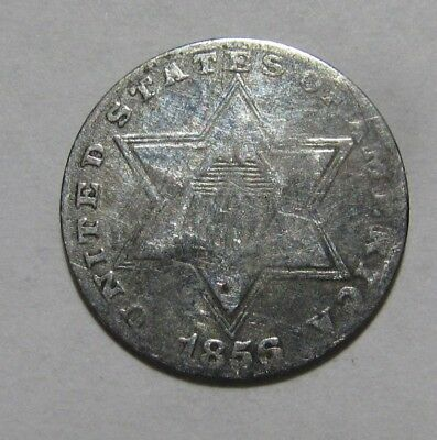 1856 Three Cent Silver - NICE Detail Cleaned - 57SU