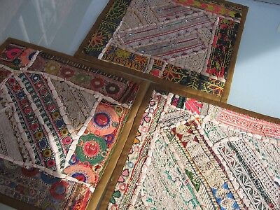3 Persian Hand Crafted Cushion Covers Patchwork Using Antique Embroidered Fabric