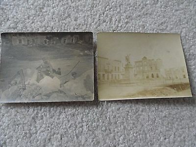Lot of two vintage photographs, one shows the Ruins of a French Church
