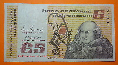 Ireland: Irish  Five  Pound Note Dated 29.9.1989 . Scotus.