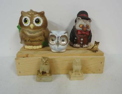 Lot Collection of 6 Owl Figurines - Carved Stone - Egg Separator - Renaker