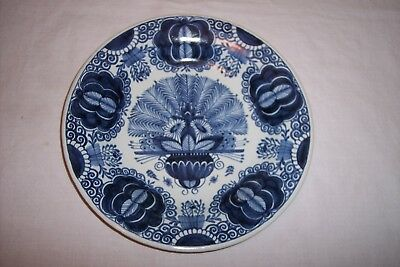"Antique Blue and White ""Peacock"" Dutch Delft Plate"