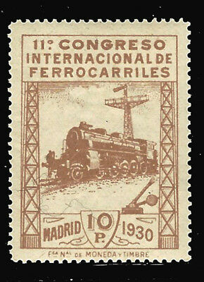 Spain stamps 1930 Railway Congress 10 p bister s. Roig (385) MNH $1,000