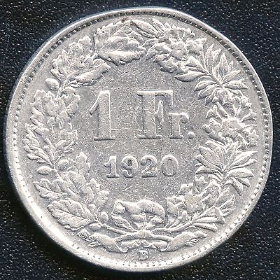 1920 Switzerland 1 Franc Coin (5 Grams .835 Silver)