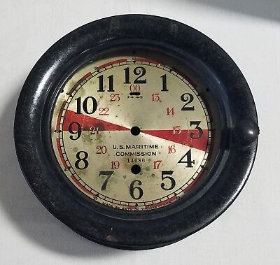 Vintage Seth Thomas Us Maritime Commission Ships Clock-Bakelite Case & Dial Only