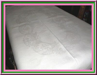 Fabulous Antique Irish Linen Damask Tablecloth With Great Design & Condition
