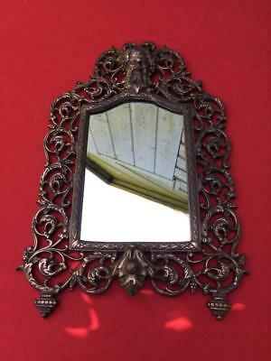 Vintage Italian Style Metal Frame Mirror with Mask of Dionysis