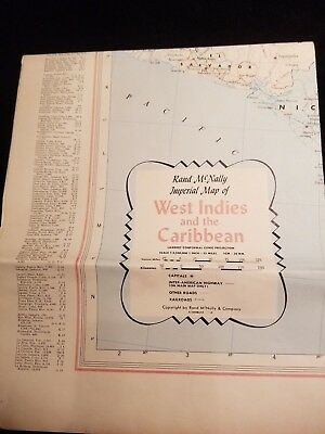 "Vintage Rand McNally Imperial Map of West Indies and the Caribbean 52""x 35.5"""