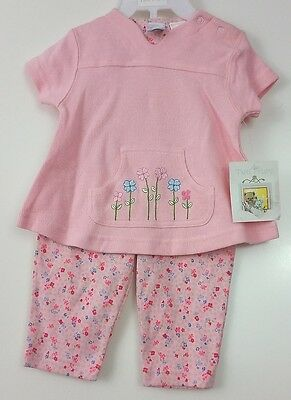 NWT Tuti Fruiti 2 Piece Outfit Girls 3/6 Months Pink Blue Floral Set #2350