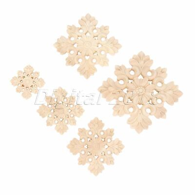 Woodcarving Unpainted Decal Onlay Crafts Carved Frame Furniture Applique Decor