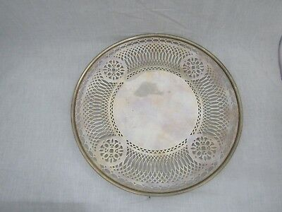 "Sterling Pierced 10"" Round Tray Pattern 5465  306 grams"