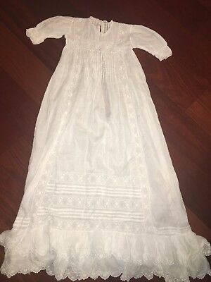 Antique Victorian Christening Gown White Eyelet Lace Pin Tucks Fancy & X-Long