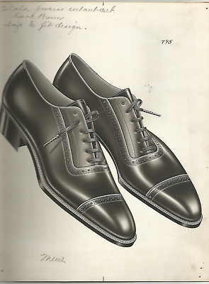 ORIGINAL PEN & INK DRAWING- PAIR OF SHOES FOR AD (1920/30s)- H.O. RAWSON- 9 x 11