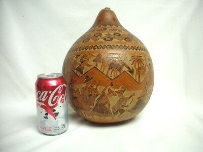 """11"""" Hand Carved Peruvian Gourd Animals Birds People Dancing Musical Instruments"""