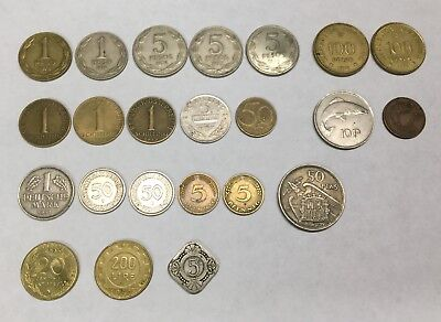 Lot of 23 Assorted Vintage Foreign Worldwide Coins ~ Estate