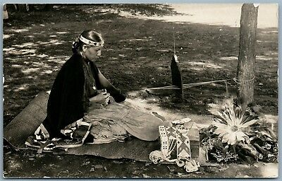 American Indian Weaver Antique Real Photo Postcard Rppc