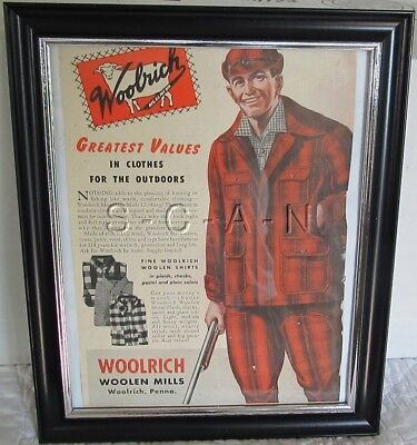 Original Vintage Framed Large (9.5 x 11.5) Advertising- Woolrich Hunting Clothes