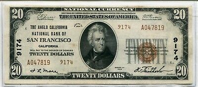 """1929 $20 San Francisco """"Charter # 9174 (National Currency) -XF"""