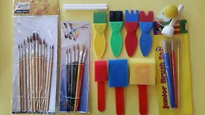 Kids Paint Brushes Foam Brushes Paint Effects Stamper 32 pce Bulk Lot Clearance