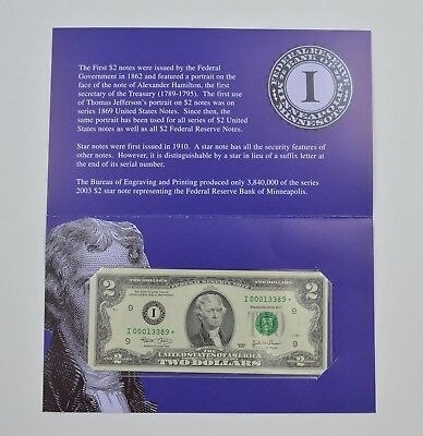 Series Federal Reserve Bank of Minneapolis $2 Star Note *076