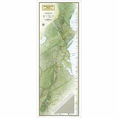 "NEW National Geographic Appalachian Trail Wall Map 18"" x 48"" Standard RE01020715"