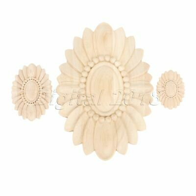 Woodcarving Unpainted Floral Decal Carved Corner Bookcase Mouldings Decor Craft