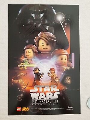 """Lego Minifigure Star Wars REVENGE OF THE SITH Movie Poster 17""""x11"""" double sided"""