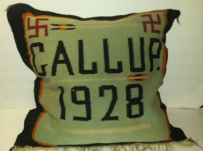 Vintage 1920's Navajo Indian Rug pillow Old weaving textile Gallup N.M.