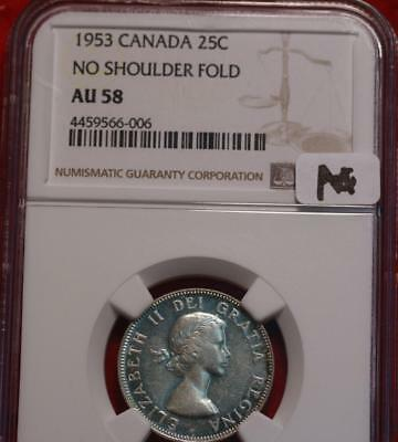 1953 Canada 25 Cents Silver Coin No Shoulder Fold NGC Graded AU 58