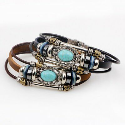 New Leather Turquoise Bracelet Magnetic-Clasp Cowhide Mens Bracelet Jewelry Hot