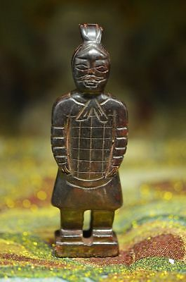 Chinese Exquisite Hand carved Terra-Cotta Warriors carving Ancient jade pend R39