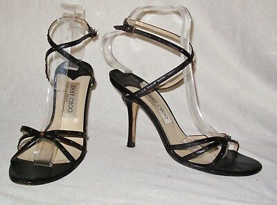 08e2ae523d7 JIMMY CHOO 38.5   5.5 Fabulous Black Leather Ankle Strap Sandals Metal Studs