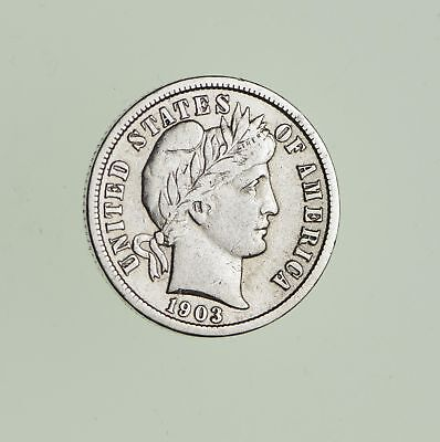 10c - Choice - 1903 - Barber Dime - Look at the Detail! *713