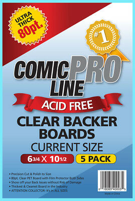 5 COMIC PRO LINE Crystal CLEAR CURRENT SIZE 80pt BACKER BOARDS Acid Free Backing