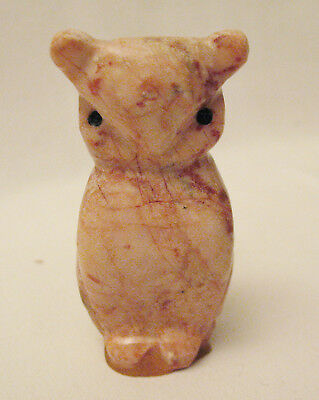 "Vintage Pink Alabaster Owl Figure  2 3/4"" tall  Hand Carved  Perfect Condition"