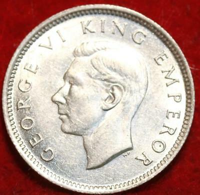 Uncirculated 1942 New Zealand 6 Pence Silver Foreign Coin