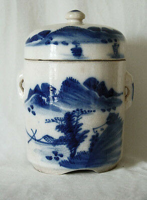 Antique Chinese Blue & White Porcelain Covered Jar/tea Caddy