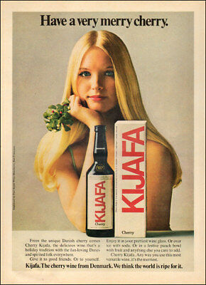 1970s vintage beverage AD KIJAFA Danish Cherry Wine, lovely blonde model  041518