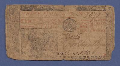 1759 Three Pounds,Colonial Currency Note,NJ-131 New Jersey,circulated Good,Nice!