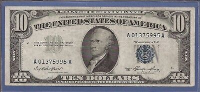 1953 $10 Silver Certificate,Blue Seal note,circulated Choice Very Fine,Nice!
