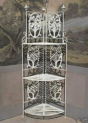 English Victorian Antique Style Solid Cast Iron Corner Etagere Pair Available