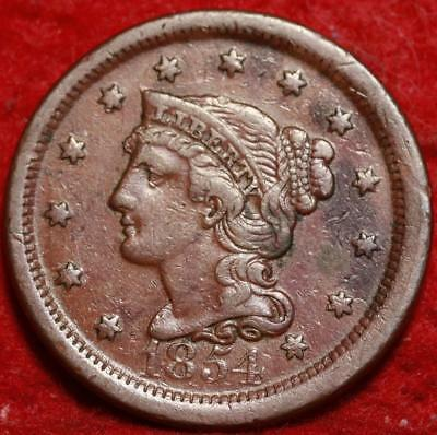 1854 Philadelphia Mint Copper Braided Hair Large Cent