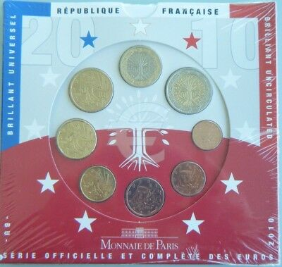2010 FRANCE Brilliant UNC Coin Set Official Complete Set of Euros