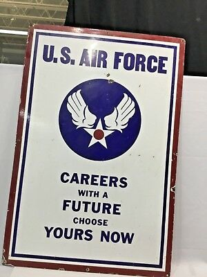 1940s US Army / Air Force Recruiting Porcelain Double Sided Sign 37 1/2 x 25 1/2